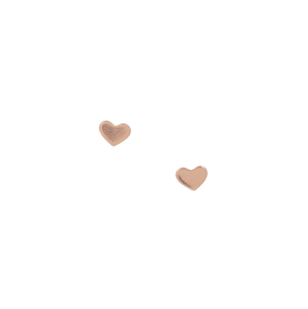 Mini Heart Studs - Rose Gold