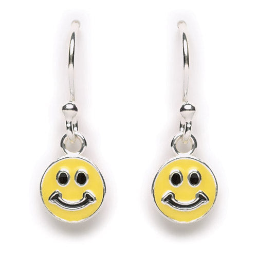 Yellow Enamel Happy Face Earring