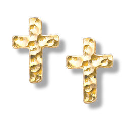 Gold Hammered Cross Post Earrings