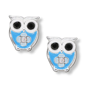 Blue Crystal Owl Post Earrings