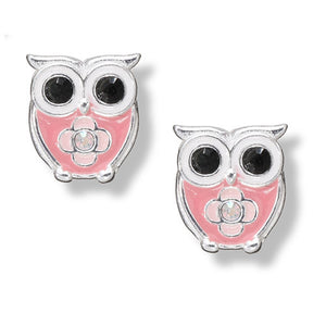 Pink Crystal Owl Post Earring