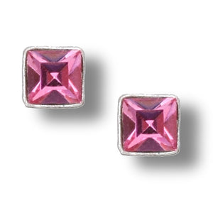 Light Pink Square Crystal Post Earring