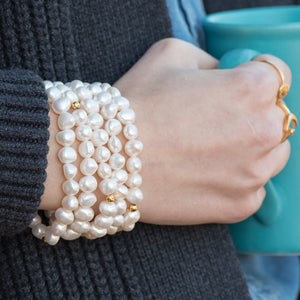 Layered Pearl Stretch Bracelet