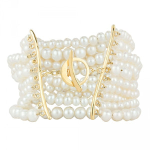 Layered Wave Pearl Bracelet in Gold
