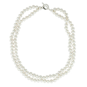 Knotted Toggle Pearl Necklace
