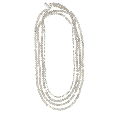 Grey Onyx Long Bead Necklace