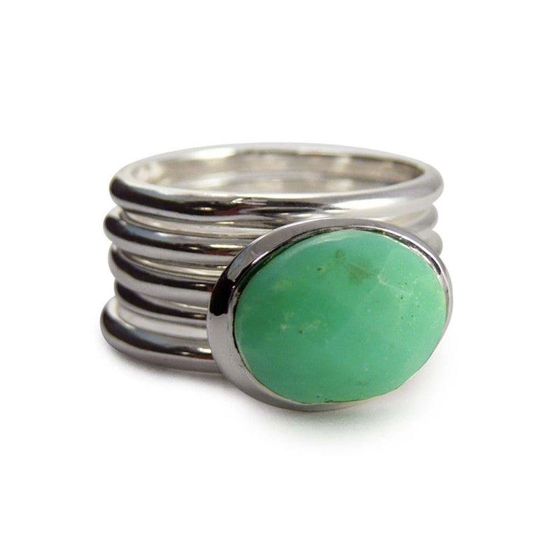 Chrysoprase Ring Stack Set - Silver