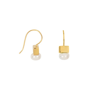 Cubist Pearl Earrings in Gold