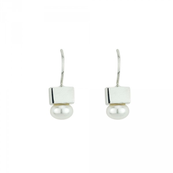 Cubist Pearl Earrings in Silver