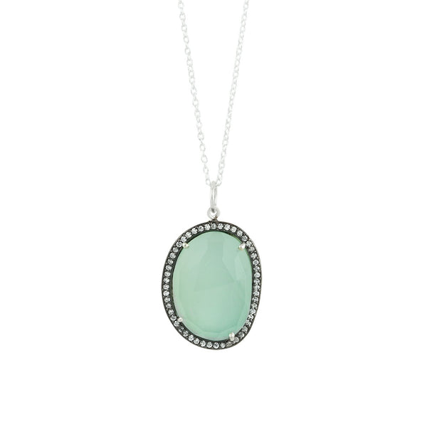 Jeweled Diadem Necklace In Aqua Chalcedony