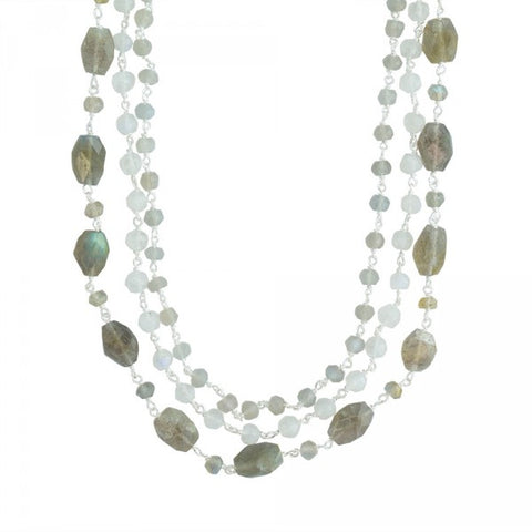 Layered Greys Necklace In Silver