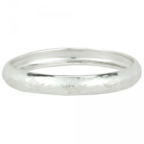 Sacred Lotus Bangle In Silver