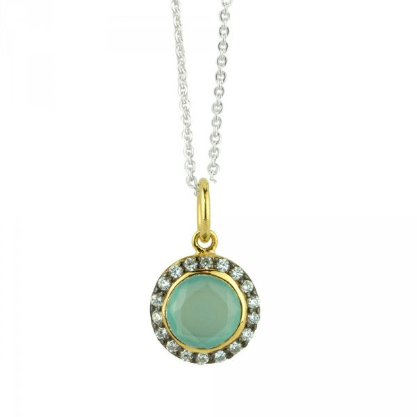 Jeweled Halo Necklace In Aqua Chalcedony