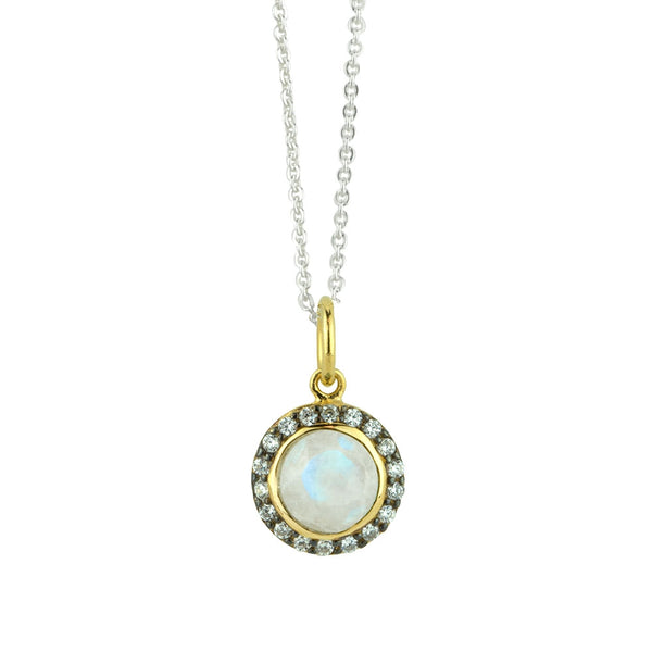 Jeweled Halo Necklace In Moonstone