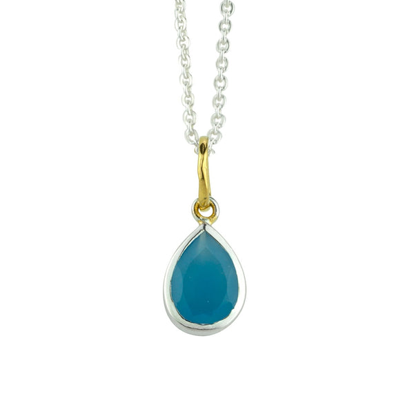 Pendulum Necklace In Sky Blue Chalcedony