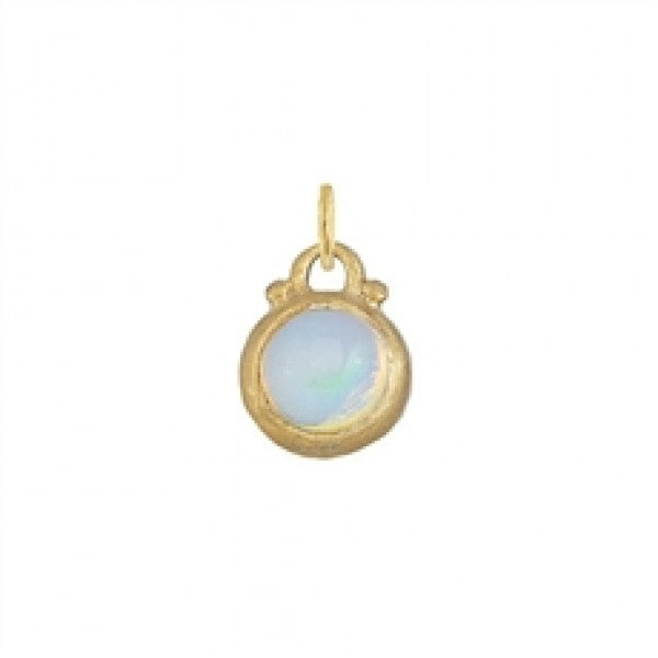 October -- Opal Moonstone Birthstone Charm in Gold
