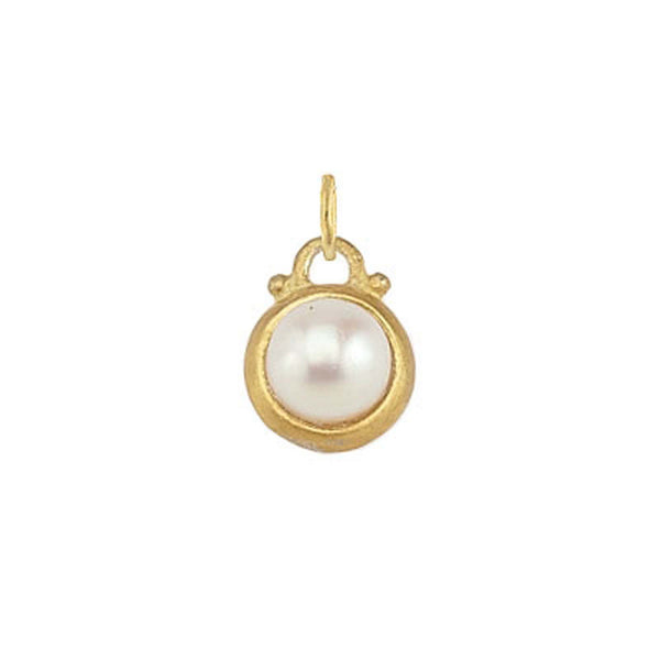 June -- Pearl Birthstone Charm in Gold