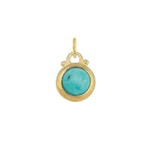 December -- Turquoise Birthstone Charm in Gold
