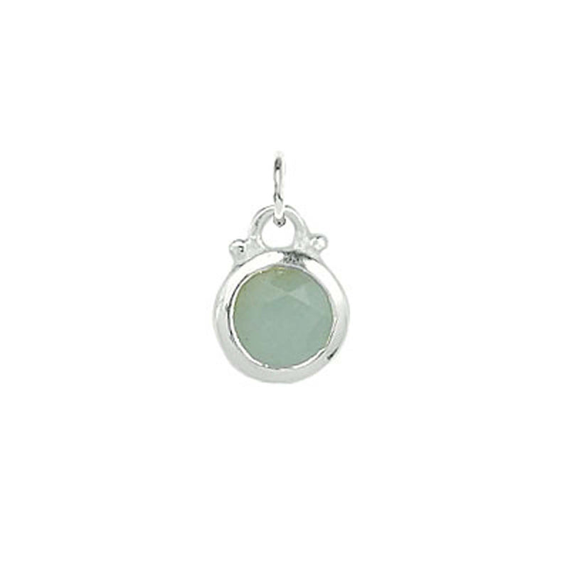 March -- Aqua Chalcedony Birthstone Charm in Silver