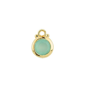 March -- Chalcedony Birthstone Charm in Gold