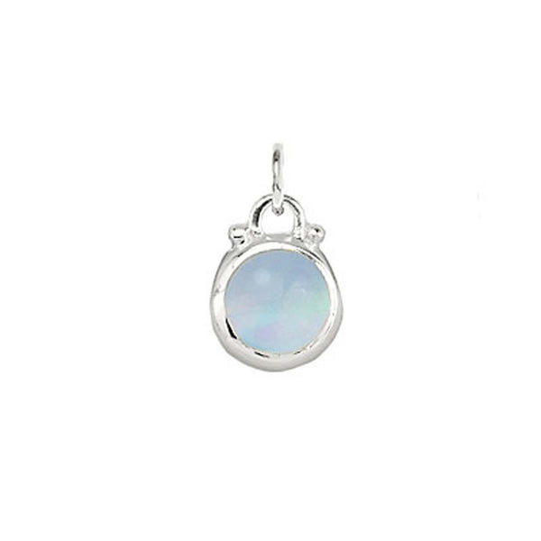 October -- Opal Moonstone Birthstone Charm in Silver