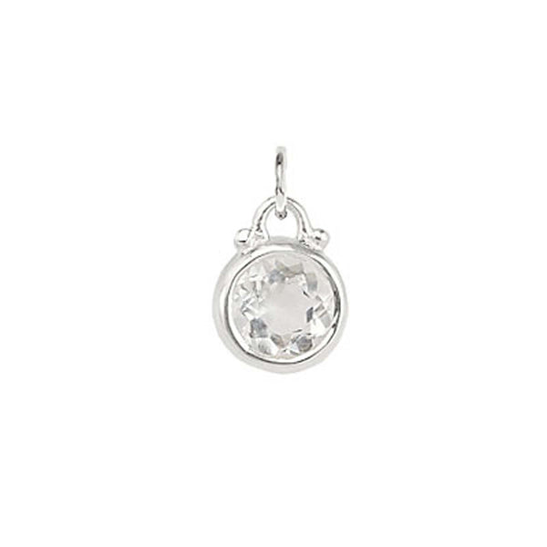 April -- Quartz Birthstone Charm in Silver