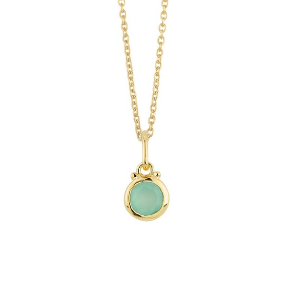 March Birthstone Charm Necklace in Gold