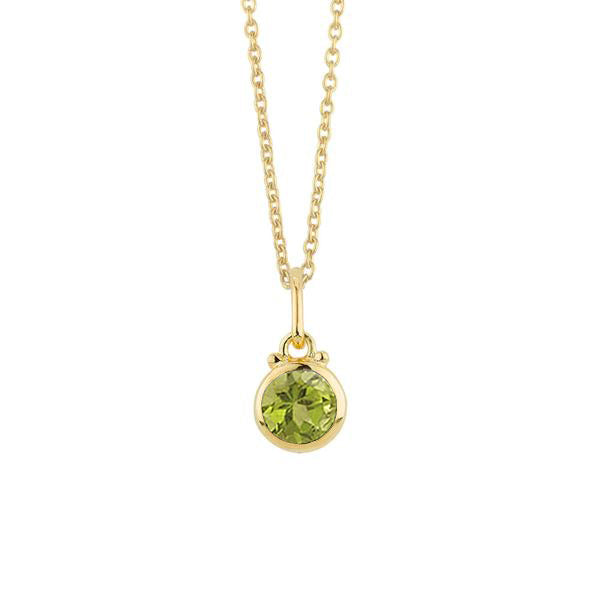 August Birthstone Charm Necklace in Gold