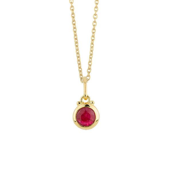 July Birthstone Charm Necklace in Gold