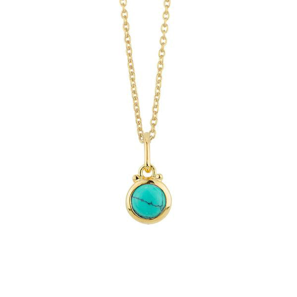 December Birthstone Charm Necklace in Gold