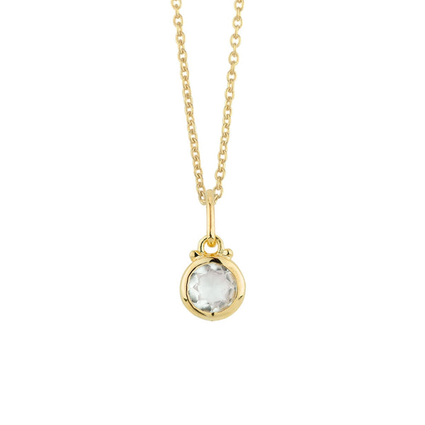 April Birthstone Charm Necklace in Gold