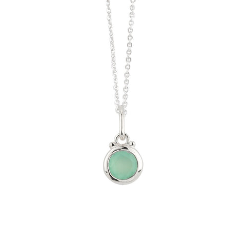 March Birthstone Charm Necklace in Silver