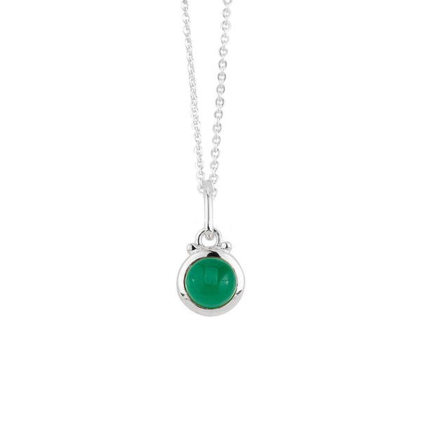 May Birthstone Charm Necklace in Silver
