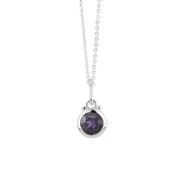 September Birthstone Charm Necklace in Silver