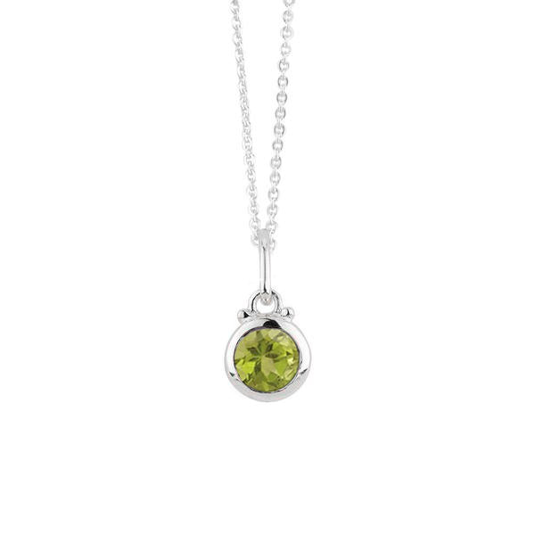 August Birthstone Charm Necklace in Silver