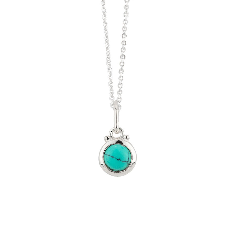 December Birthstone Charm Necklace in Silver