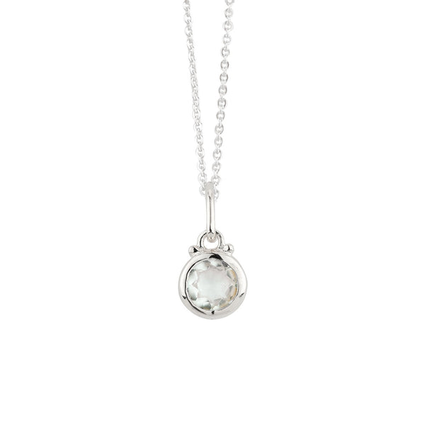 April Birthstone Charm Necklace in Silver