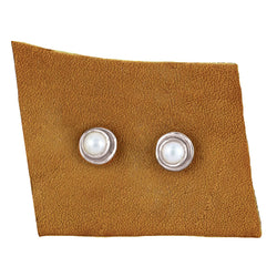 Pearl Post Earrings in Silver