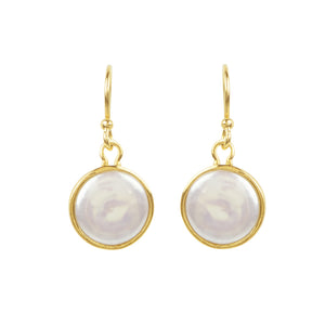 Coin Pearl Earrings in Gold