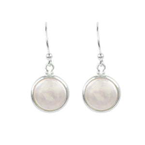 Coin Pearl Earrings in Silver