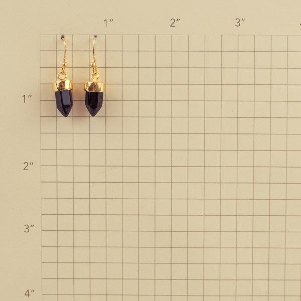 Gold And Black Onyx Prism Point Hook Earrings