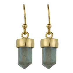 Gold And Labradorite Prism Drop Earrings