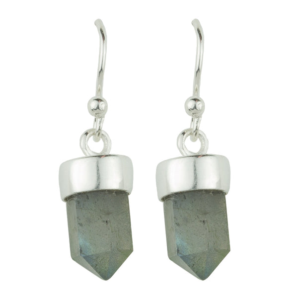 Silver and Labradorite Prism Drop Earrings