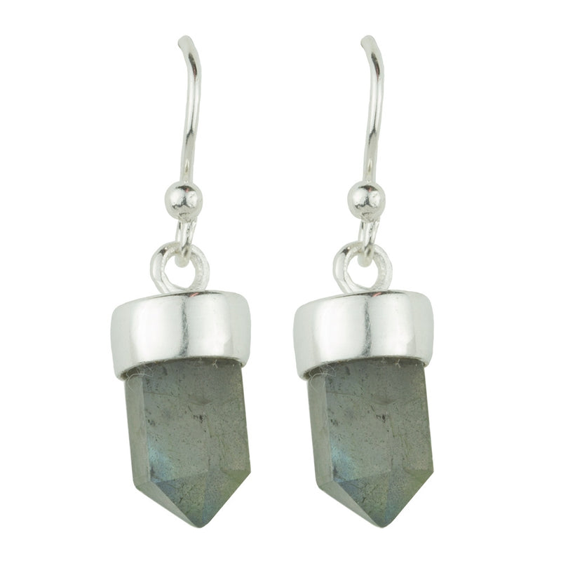 Silver and Labradorite Prism Point Hook Earrings