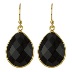 Cut Stone Earrings In Gold And Onyx