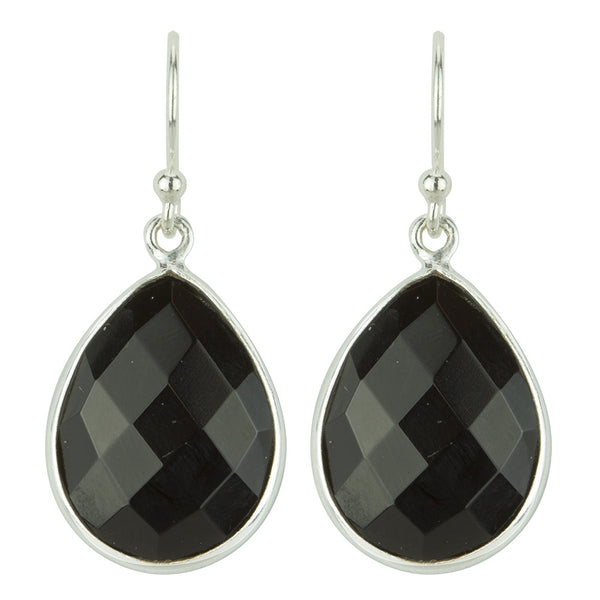 Cut Stone Earrings In Silver And Onyx
