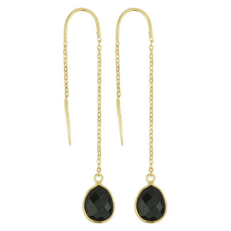 Fluency Earrings In Onyx And Gold