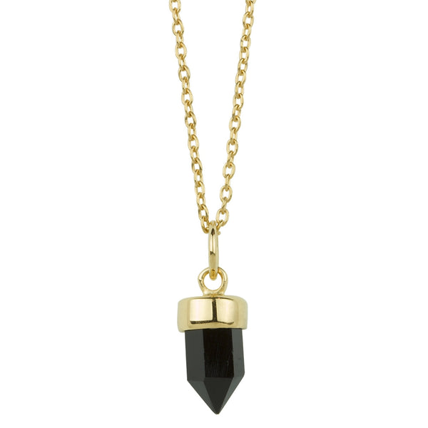 Prism Point Necklace In Gold And Onyx