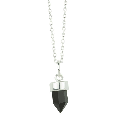 Prism Point Necklace In Silver And Onyx