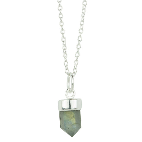 Prism Point Necklace In Silver And Labradorite